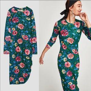 Zara | Floral Long Sleeve Dress Gathered Side Hem